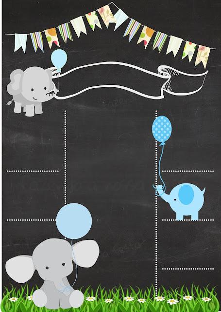 Invitación tipo Infografía de Elefantito Bebé, para Imprimir Gratis.