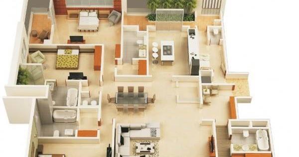30 Pelan Rumah Banglo Setingkat 4 Bilik Moden Minimalis