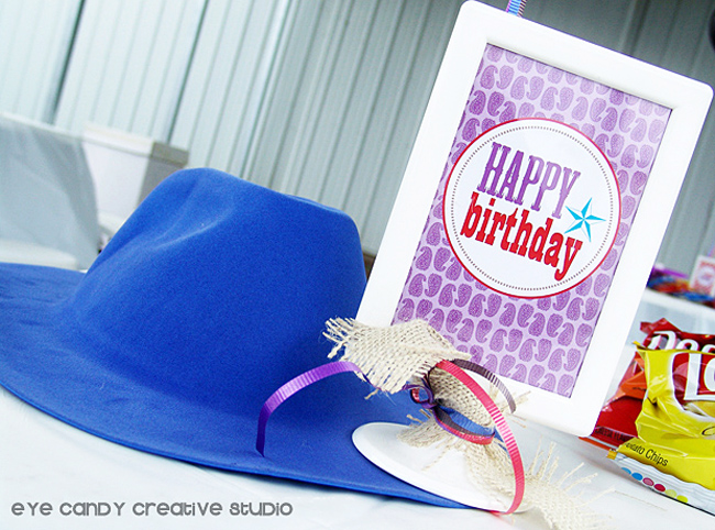 cowboy hat, happy birthday sign, cowboy party decor & ideas