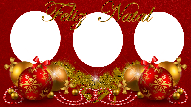 Natal -Moldura Red 50  e bolas com Feliz Natal mais luz- 3 fotos