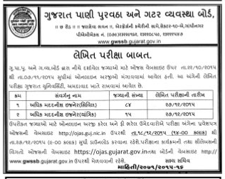 GWSSB Add. Asst. Engineer Examination, 2015