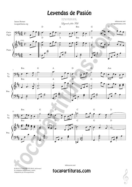 1 Leyendas de Pasión Partitura de Chelo & Fagot Legends of the Fall Sheet Music for Cello and Bassoon