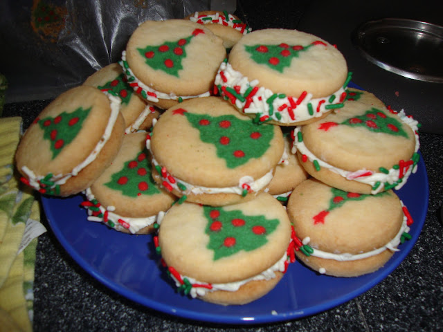 Sugar Sandwich Cookies With Tree Design On The Cookies