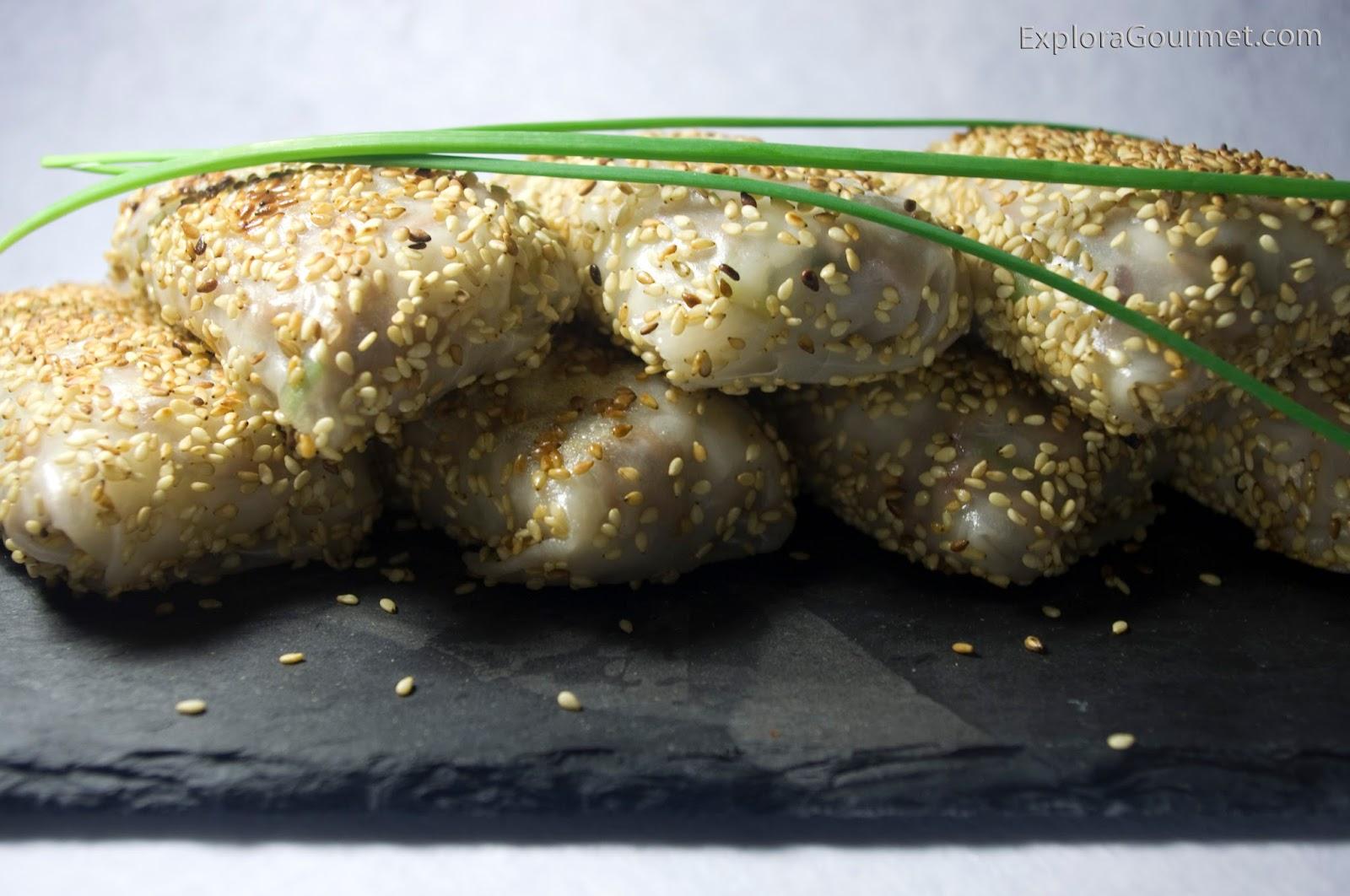 Rollitos de arroz rellenos de carne