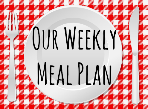 Our weekly meal plan title. Text with a plate and knife and fork
