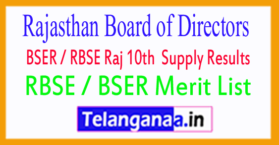 BSER / RBSE Raj 10th Sec Supply  Results 2018