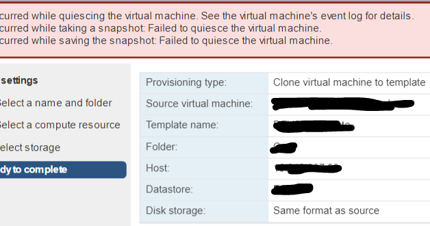 an error occurred while saving the snapshot failed to quiesce the virtual machine