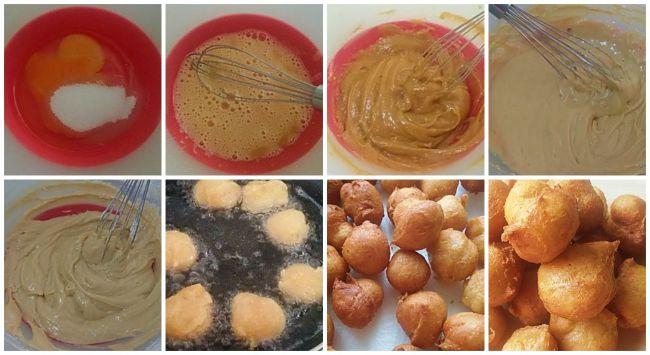 Preparación de los buñuelos de maíz y cacahuete