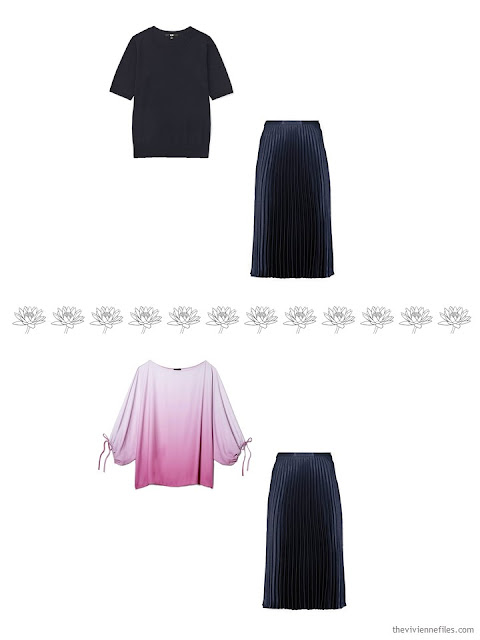 2 ways to wear a navy skirt in a 4 by 4 Wardrobe