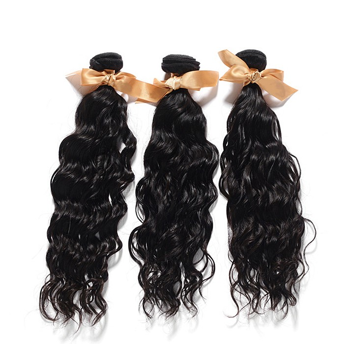 Bundles Natural Wavy Virgin Brazilian Hair Natural Black 300g