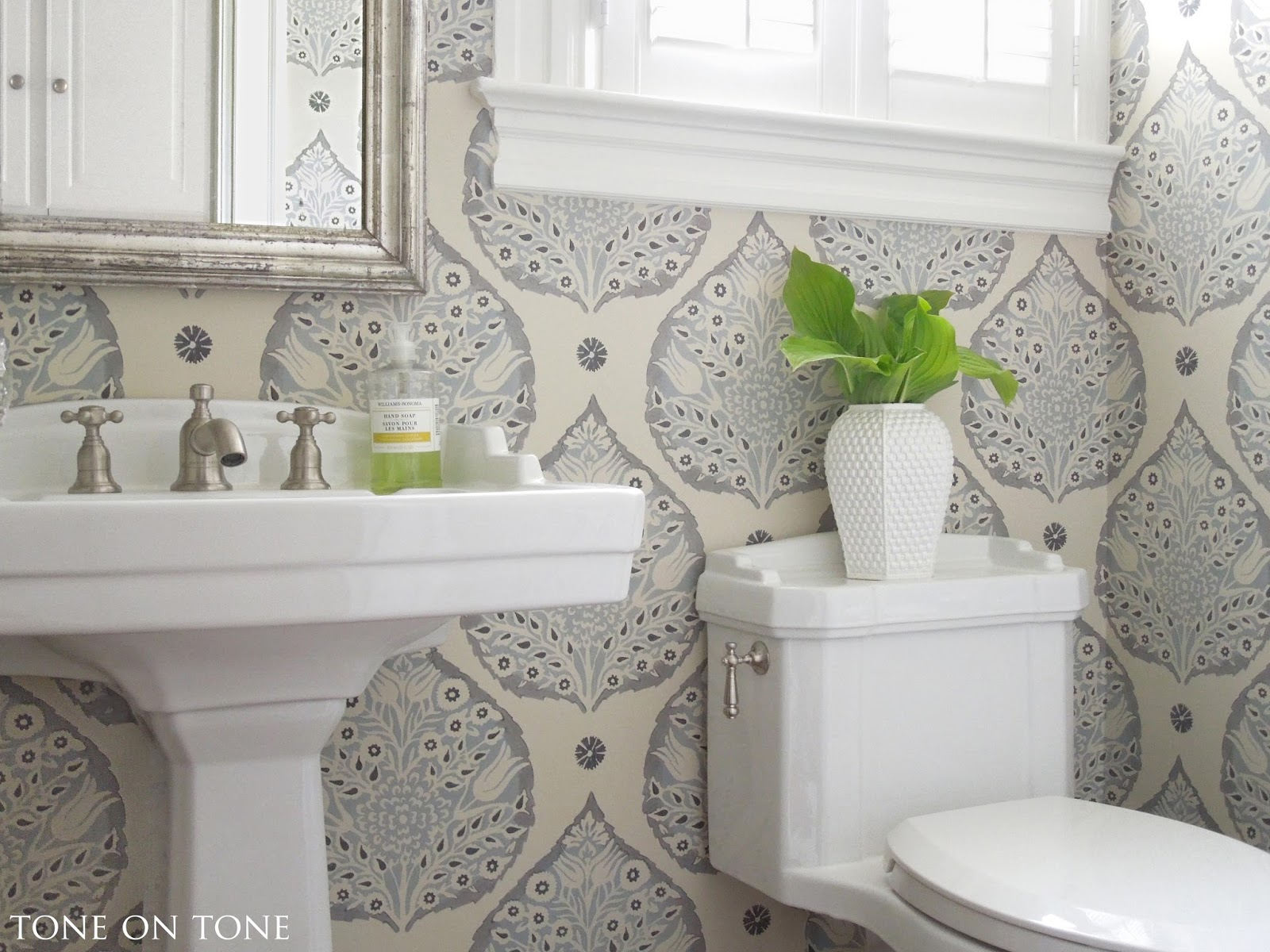 Tone on tone interior garden design powder room - Powder room wallpaper ideas ...