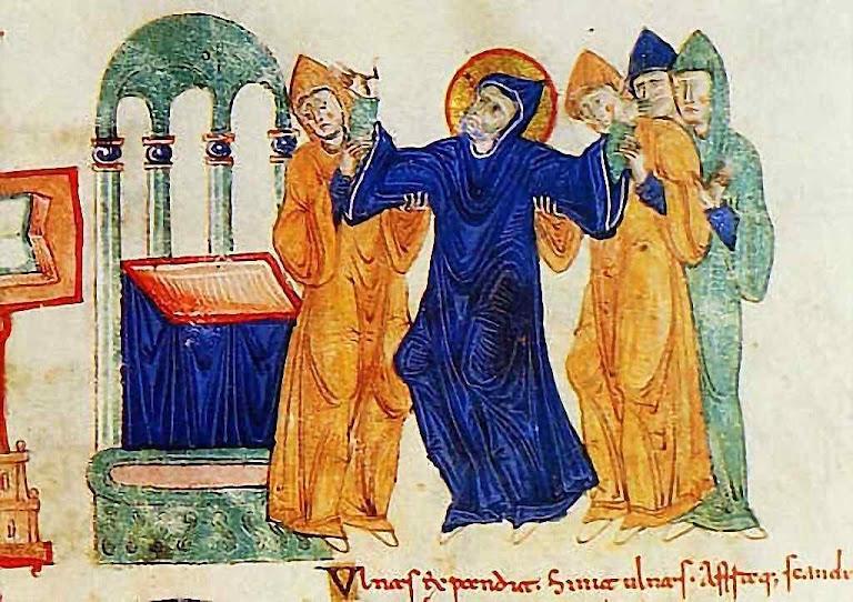 Morte de São Bento em 21 de março de 547 rodeado por discípulos (Iluminura de Monte Cassino, século XI)