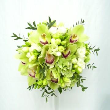 Oxalis Timisoara Buchet Mireasa Orhidei Verzi Si Frezii Albe