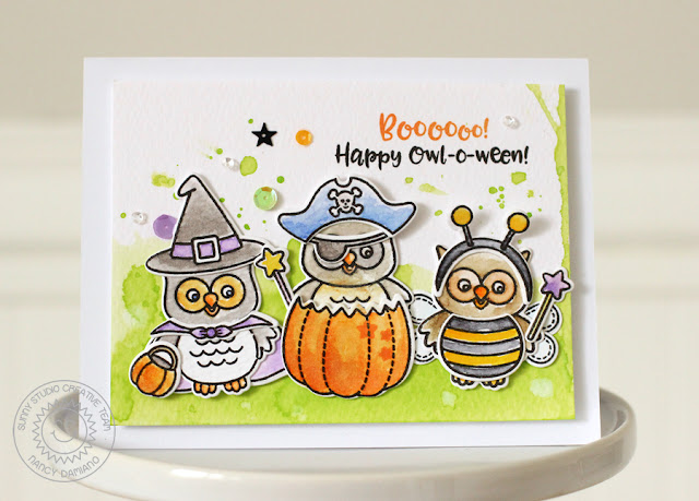 Sunny Studio Stamps: Happy Owl-o-ween Trio Of Costumed Owls Card by Nancy Damiano