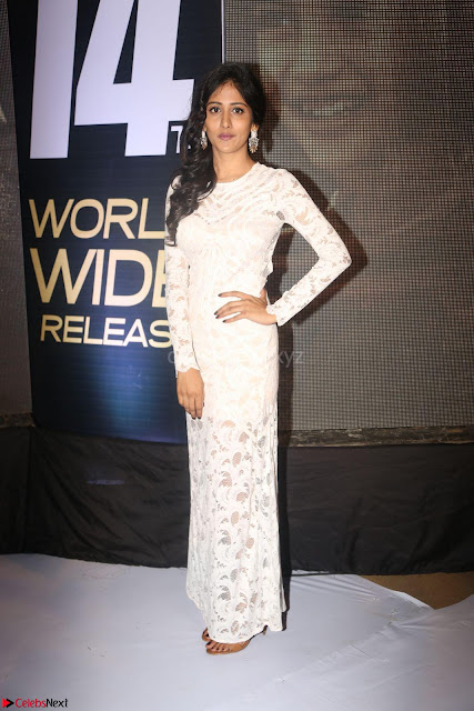 Chandini Chowdary in white Tight dress at Shamanthakamani pre release function ~  Exclusive 002.JPG
