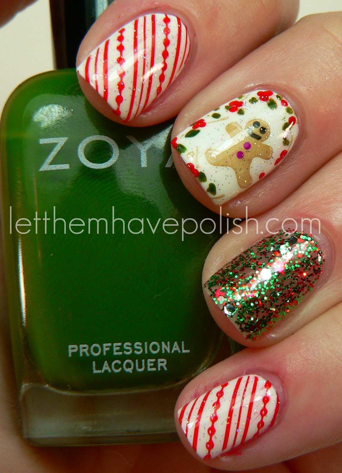 Christmas Nail Art French Manicure Red With White: Let Them Have Polish!: Holiday Cuteness With Zoya Nail Polish