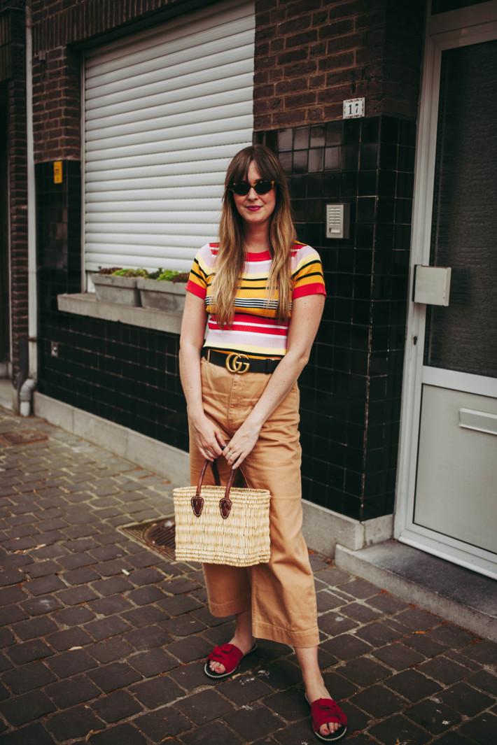 6f7a1b5af716 striped knit top: c/o Shein - camel trousers: c/o Monki - belt: Gucci -  sandals: c/o Wonders - basket: Dille en Kamille - cat eye sunglasses:  Bershka