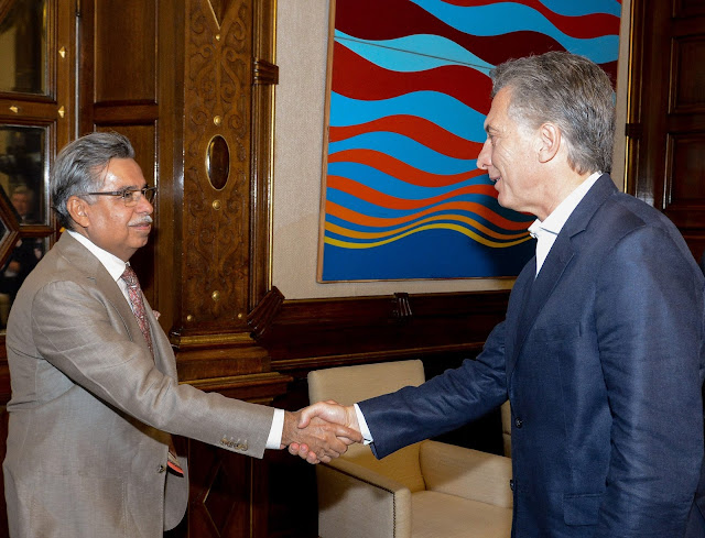 Mr Pawan Munjal Hero MotoCorp with the president of Argentina Mr. Mauricio Macri in Buenos Aires
