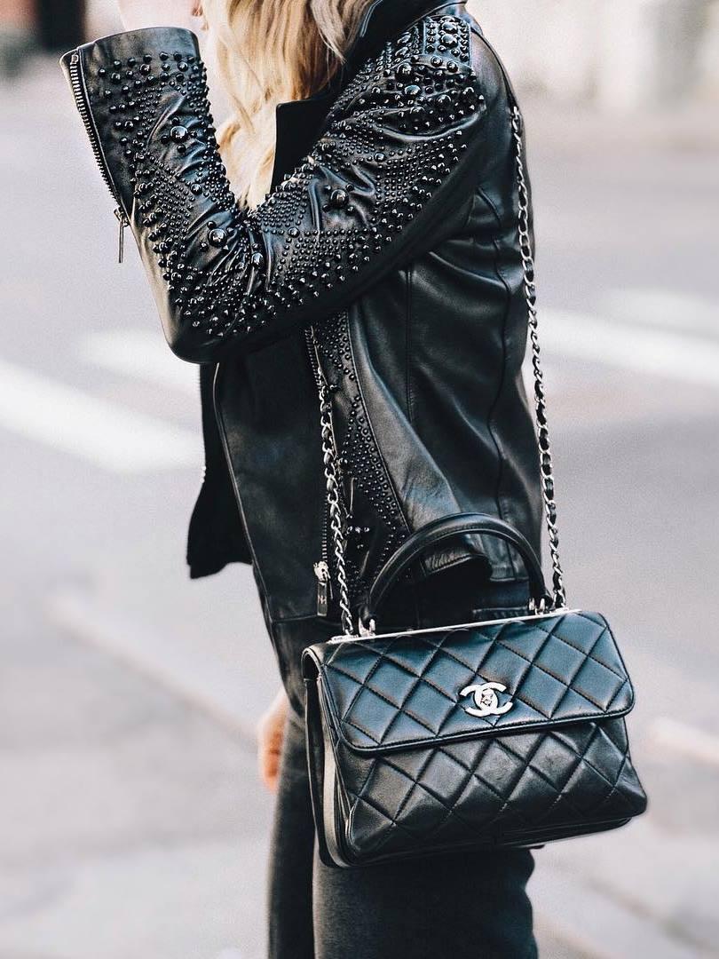black on black | jacket + bag + jeans