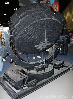Working full size Batman bat signal made from Legos