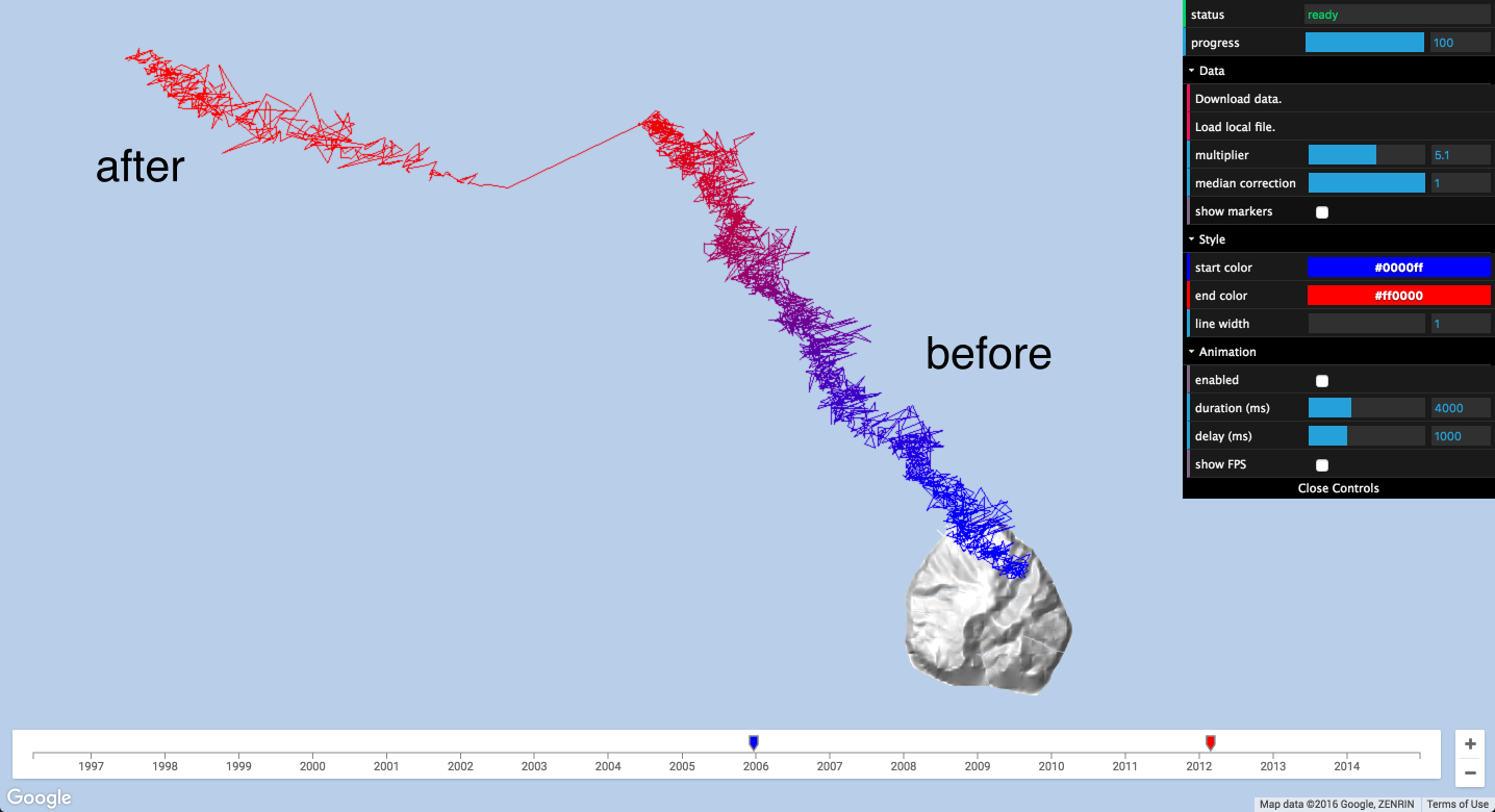 Google AI Blog: Open Source Visualization of GPS Displacements for