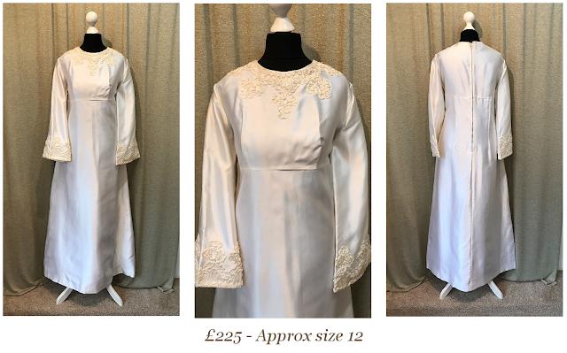 1960's high neck long sleeve dupion satin vintage wedding dress priscilla presley available at vintage lane bridal boutique in bolton , manchester, lancashire