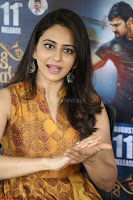 Rakul Preet Singh smiling Beautyin Brown Deep neck Sleeveless Gown at her interview 2.8.17 ~  Exclusive Celebrities Galleries 063.JPG