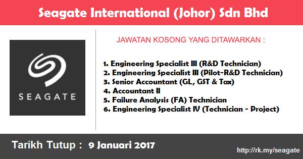 Jawatan Kosong di Seagate International (Johor) Sdn Bhd