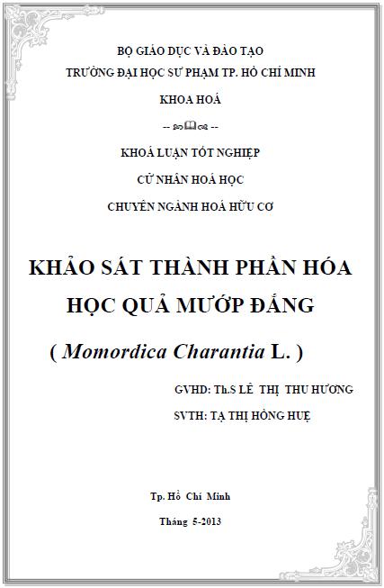 Khảo sát thành phần hóa học quả mướp đắng Momordica charantia L.