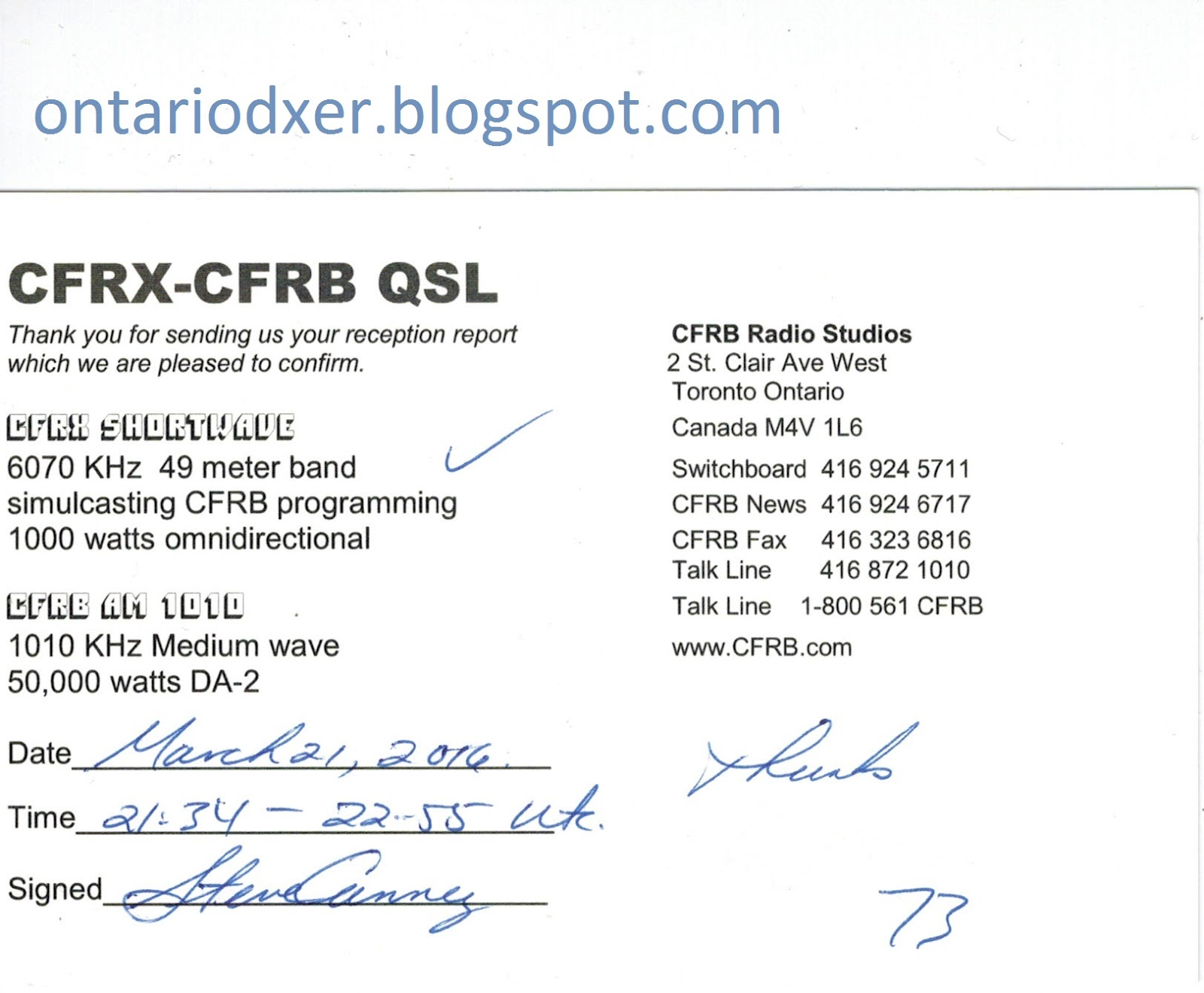 Thanks To Steve Who Is The QSL Manager At CFRB 1010 CFRX
