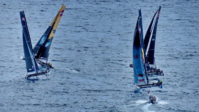 the dance of the GC32 yachts in the sea of Funchal