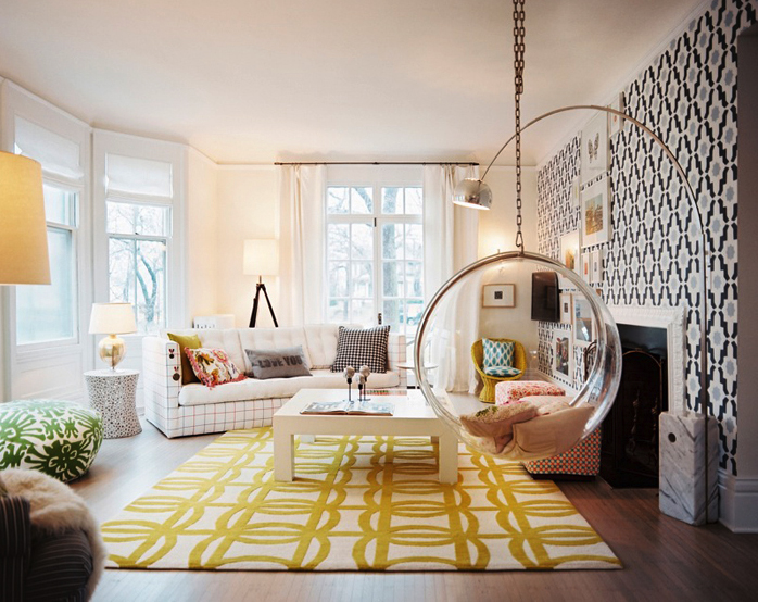 yellow-black-living-room-bubble-swing