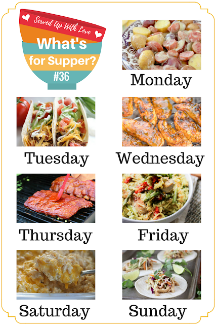 What's for Supper Meal Plan at Served Up With Love is filled with crock pot and grilling recipes to keep things super simple. Crock Pot Beef Tacos, Tangy Carolina BBQ Baby Back Ribs, Italian Chicken Rice, and so much more.