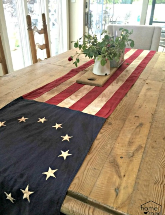flag table runner for the holiday weekend