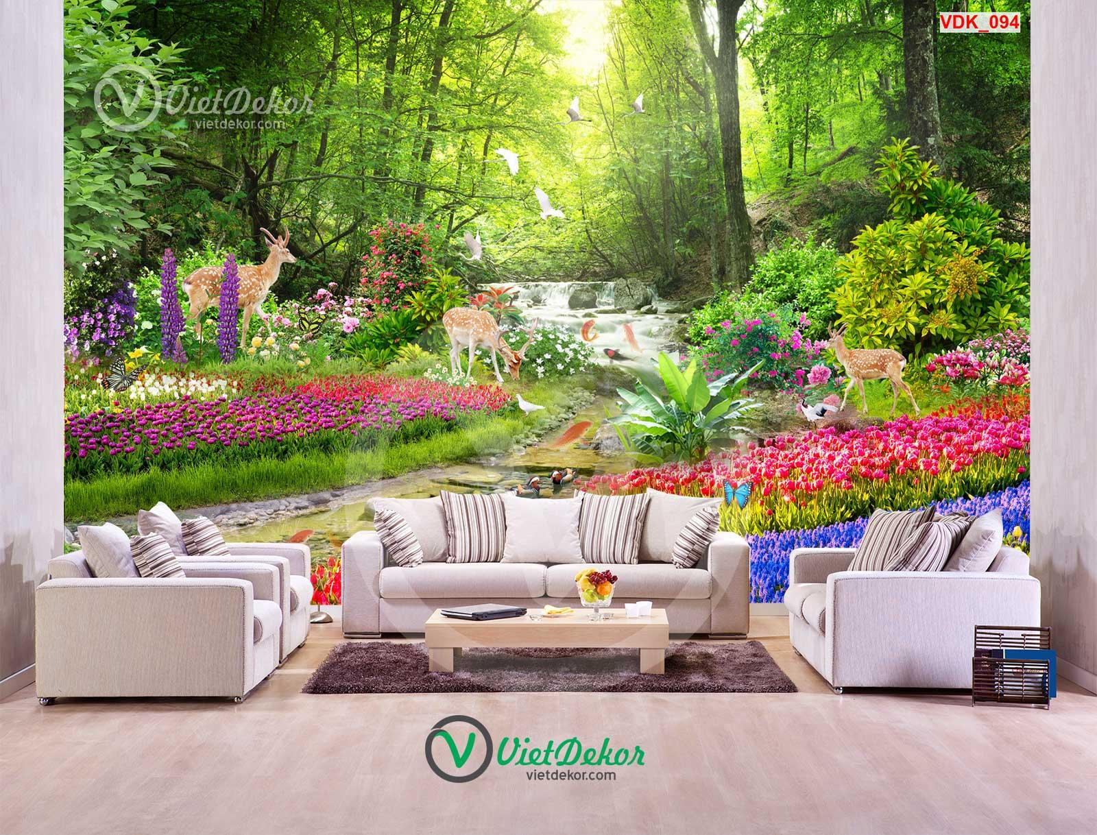 Tranh 3d thác nước cánh rừng hoa lai con