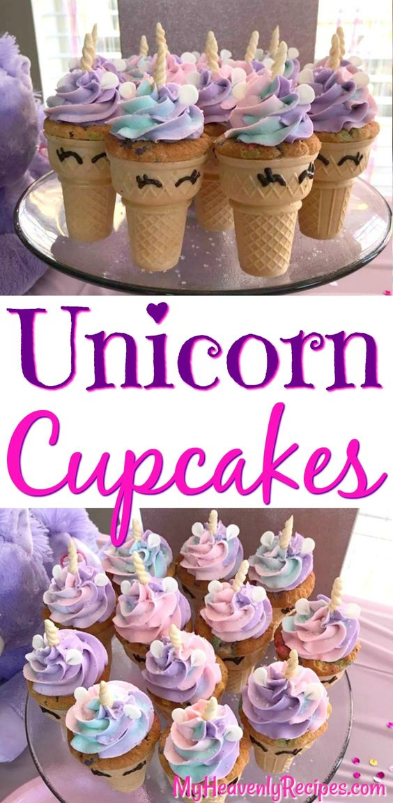 Unicorn Cupcakes in a Cone