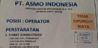 Lowongan Kerja PT Asmo Indonesia Bulan Agustus Banyak Yang Habis Kontrak