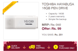 Get Toshiba 16 GB Pendrive In Just Rs.99