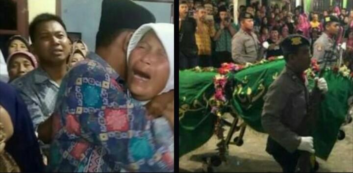 Ibu Wakapolres Labuhanbatu Kompol Andi menangis histeris menyaksikan pemberangkatan jenazah ke pemakaman umum.