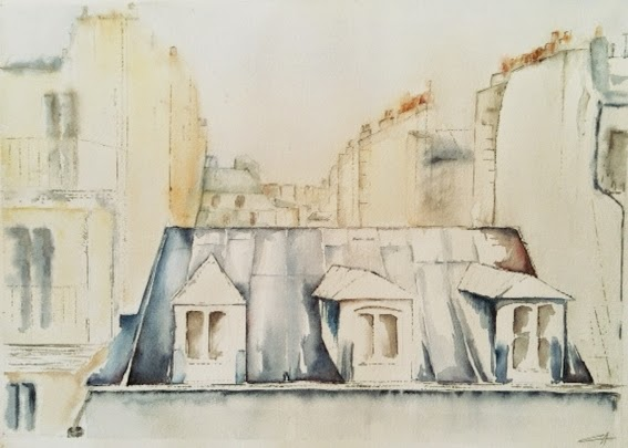 Paris, Toits de Paris, Aquarelle