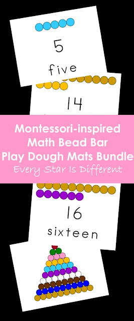 Montessori-inspired Math Bead Bar Play Dough Mats Bundle