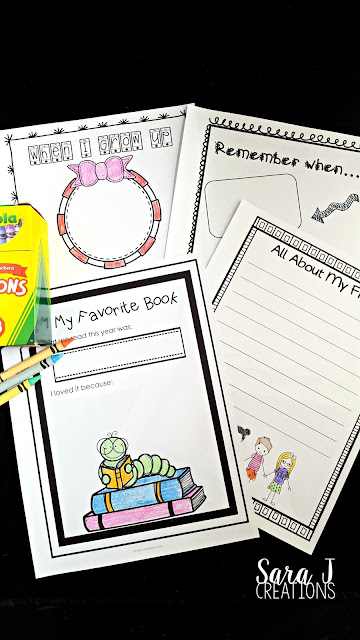 It is the end of the school year and you need something to get your students through the last few weeks of school.  Am I right?  Memory books are perfect for that.  With 25 different pages, students of any elementary age will be busy reflecting and remembering the highlights of the school year.