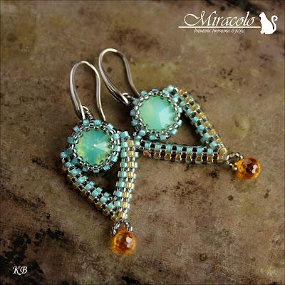 kolczyki z kwarcem i rivoli, quarz teradrop earrings,Miracolo