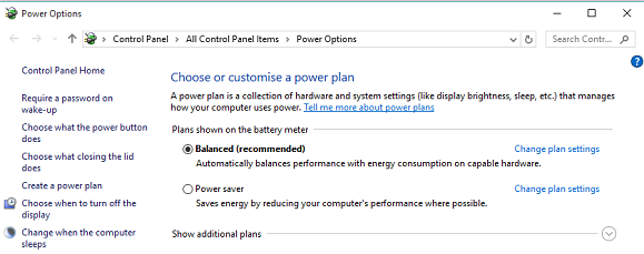 customise a power plan in windows 10