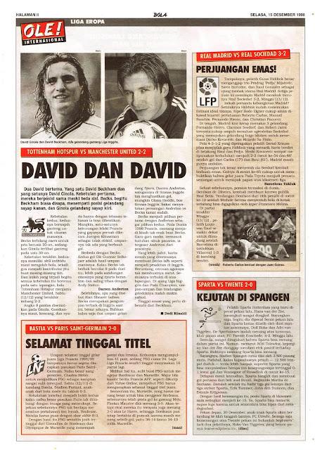 DAVID GINOLA DAVID BECKHAM TOTTENHAM HOTSPUR VS MANCHESTER UNITED 2-2