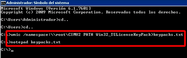 wmic /namespace:\\root\CIMV2 PATH Win32_TSLicenseKeyPack>keypacks.txt