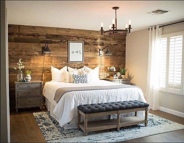 Hochwertig Kleine Schlafzimmer Rustikale Design Mit Holz Wandverkleidung