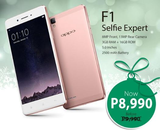 OPPO F1 new price Christmas 2016