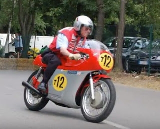 Even at the age of 71, pictured here riding in a MV Agusta reunion event, Ubbiali had not lost his skills