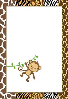 Marcos, Invitaciones, Tarjetas o Etiquetas de la Selva Bebés para Imprimir Gratis.